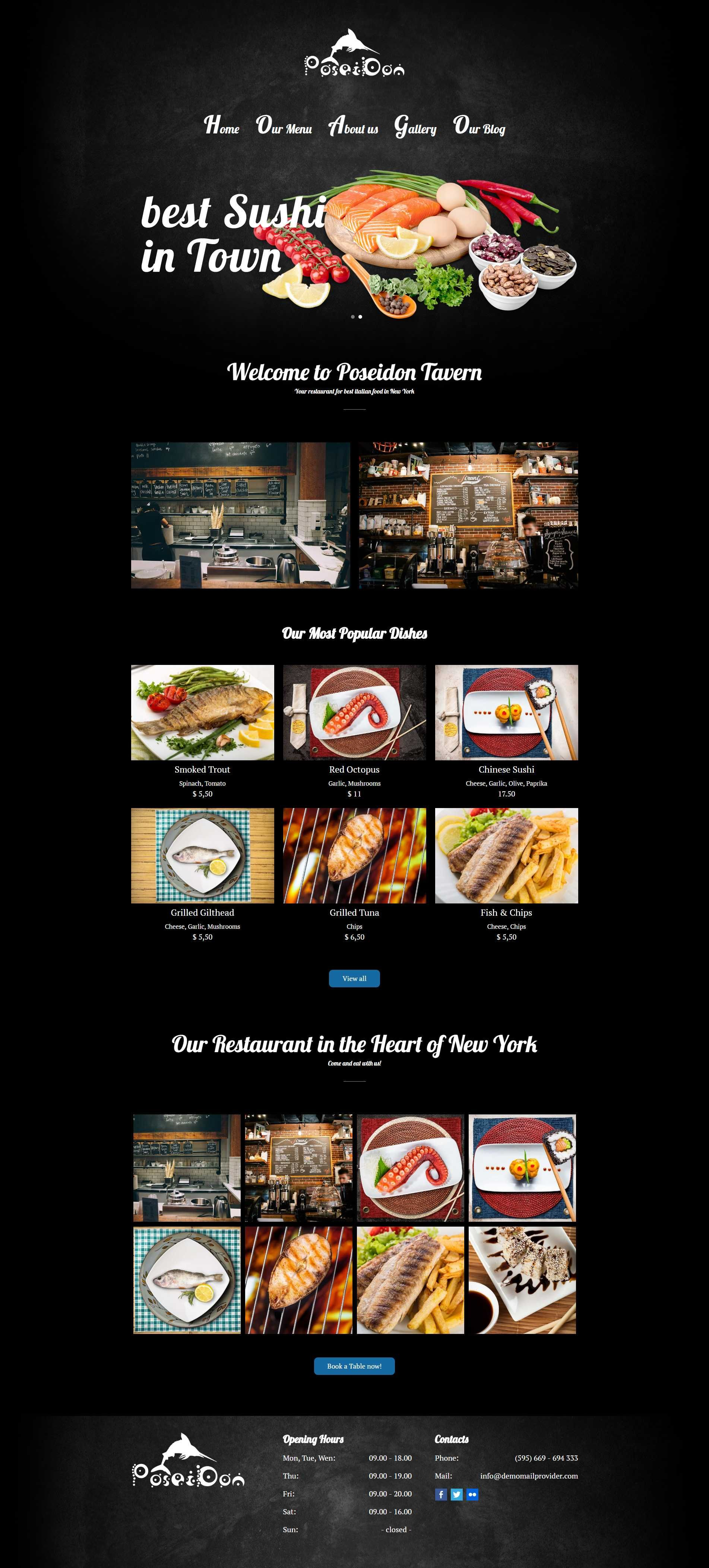 Poseidon Seafood WordPress Theme For Fish Restaurants
