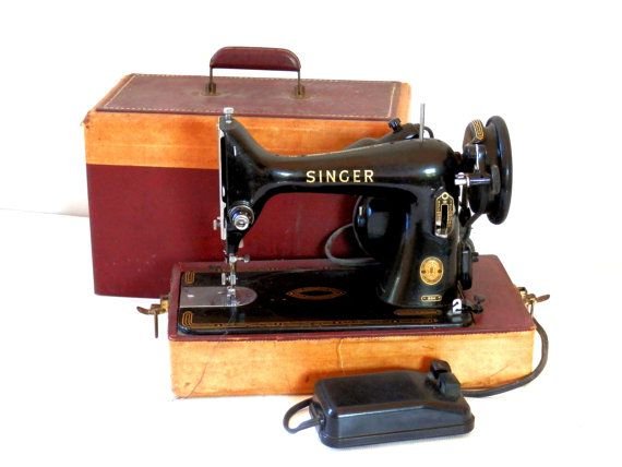 Singer Model 99K Portable Sewing Machine Tan and Maroon ...