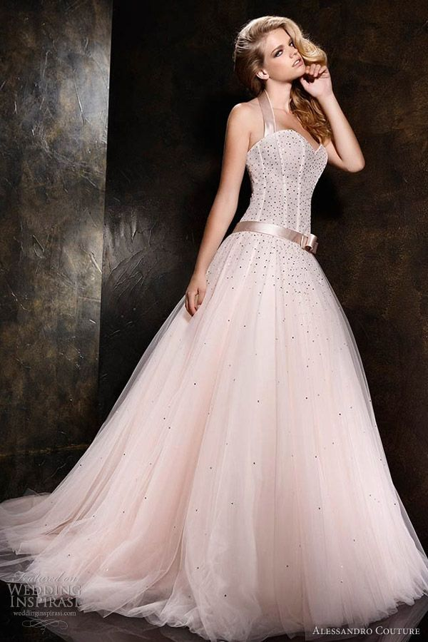 pale pink ball gown with sweetheart neckline and halter straps ...