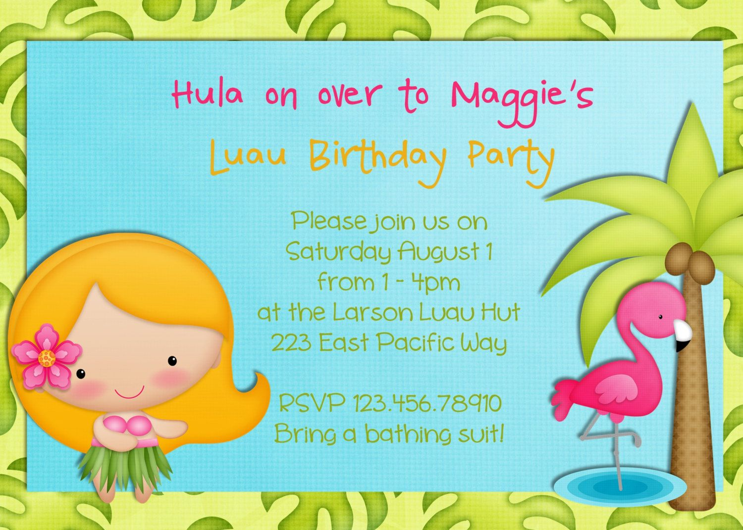 Hula Girl Birthday Party Invitation Luau Tropical by 3PeasPrints ...