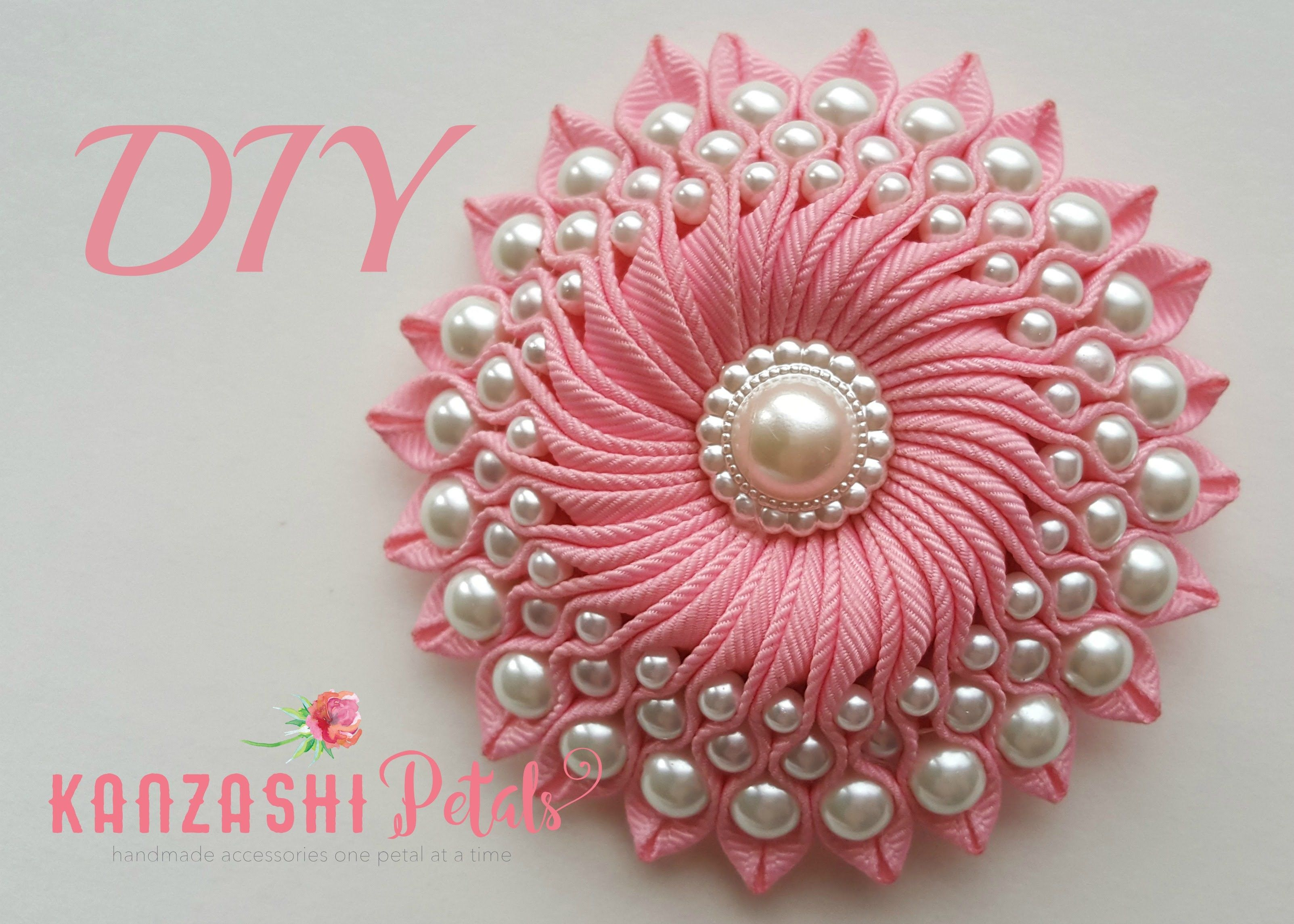 Diy ribbon flower with beads grosgrain flowers with beads for Waste material flower making