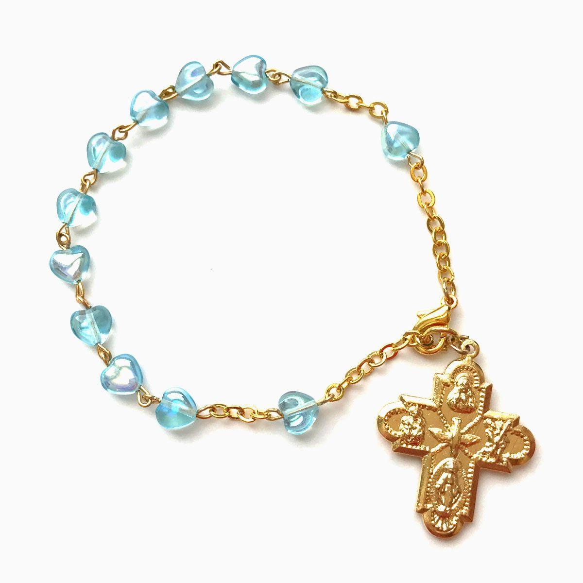 Aqua glass heart beads rosary bracelet get it here