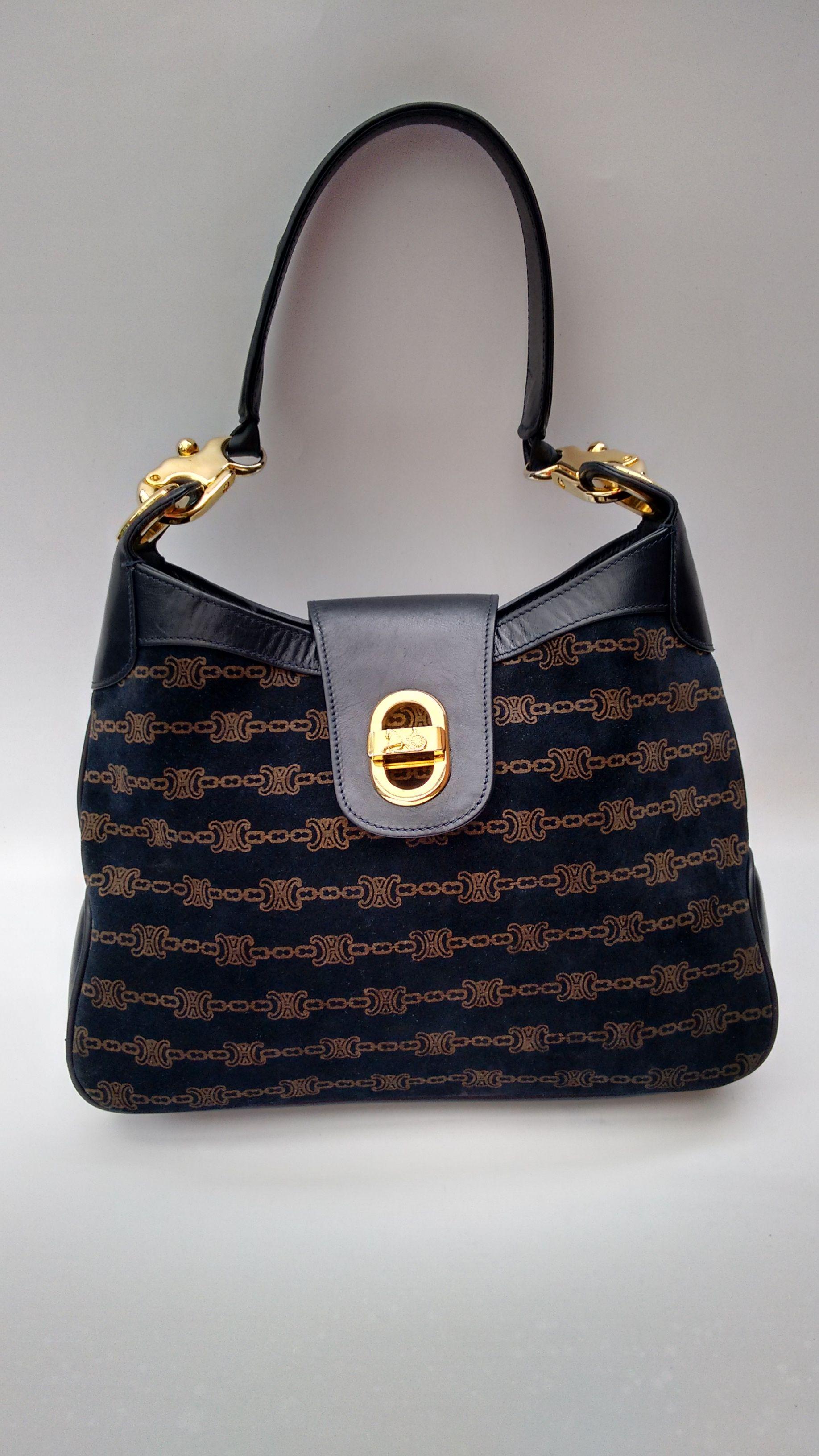 CELINE Bag. Celine Vintage Navy Leather Shoulder Hobo Bag. French designer  purse. d93d65f79da10