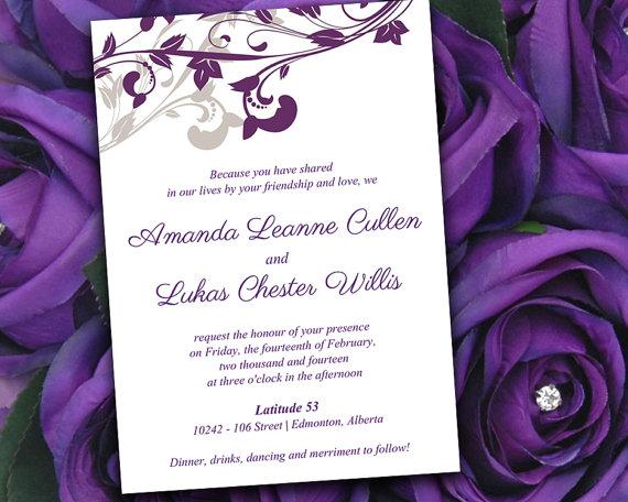 Wedding Invitation Template Diy Invitation Eggplant Purple Neutral