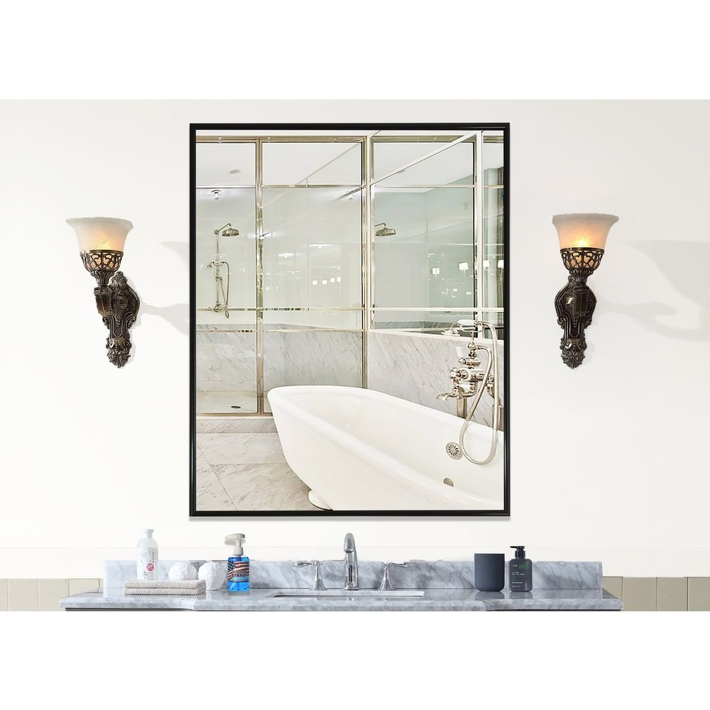 American Made Rayne Alpha Black Wall Mirror | Overstock.com Shopping ...
