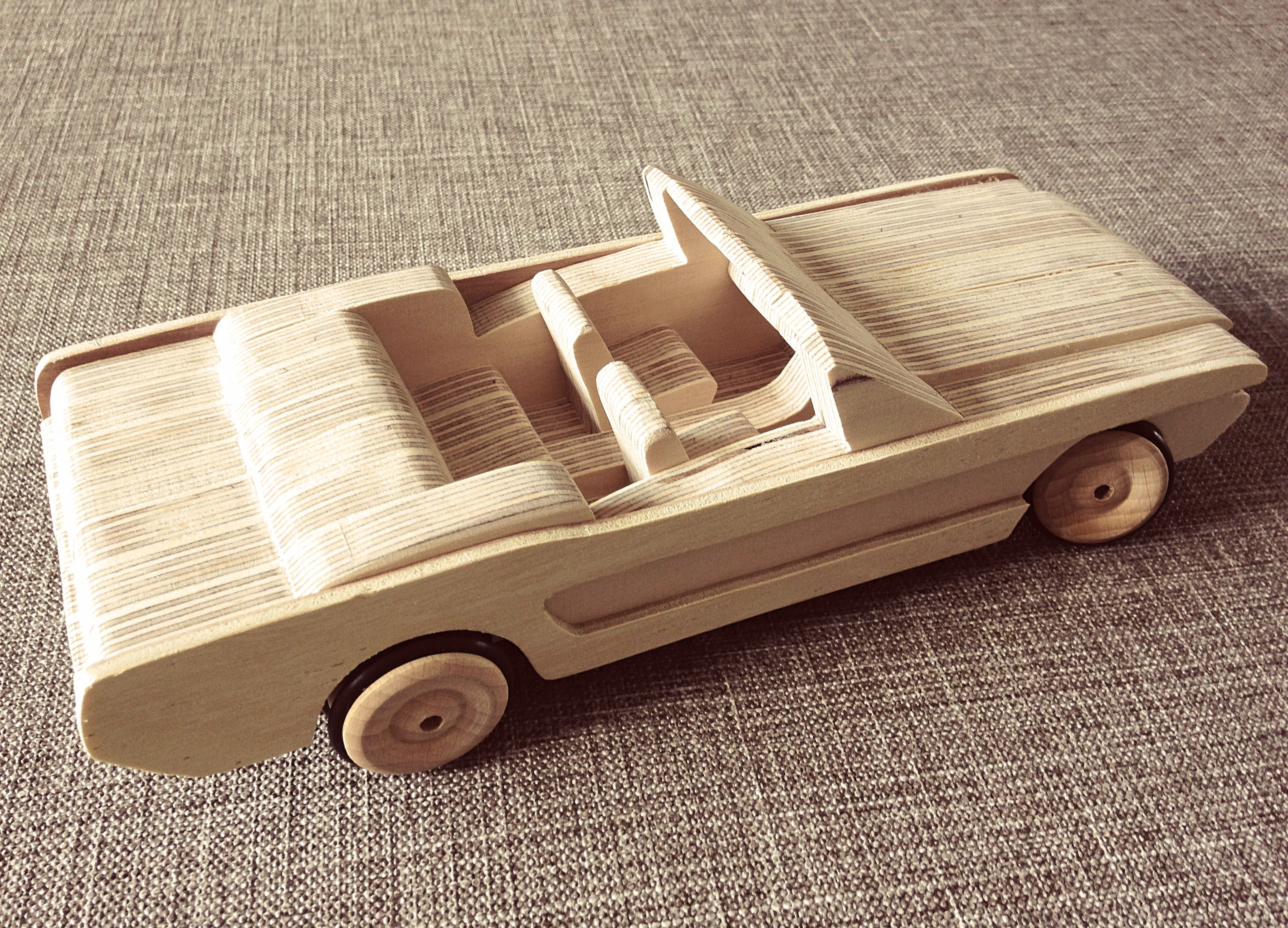 wooden toy cars. toy design. mustang. wood. sculpture