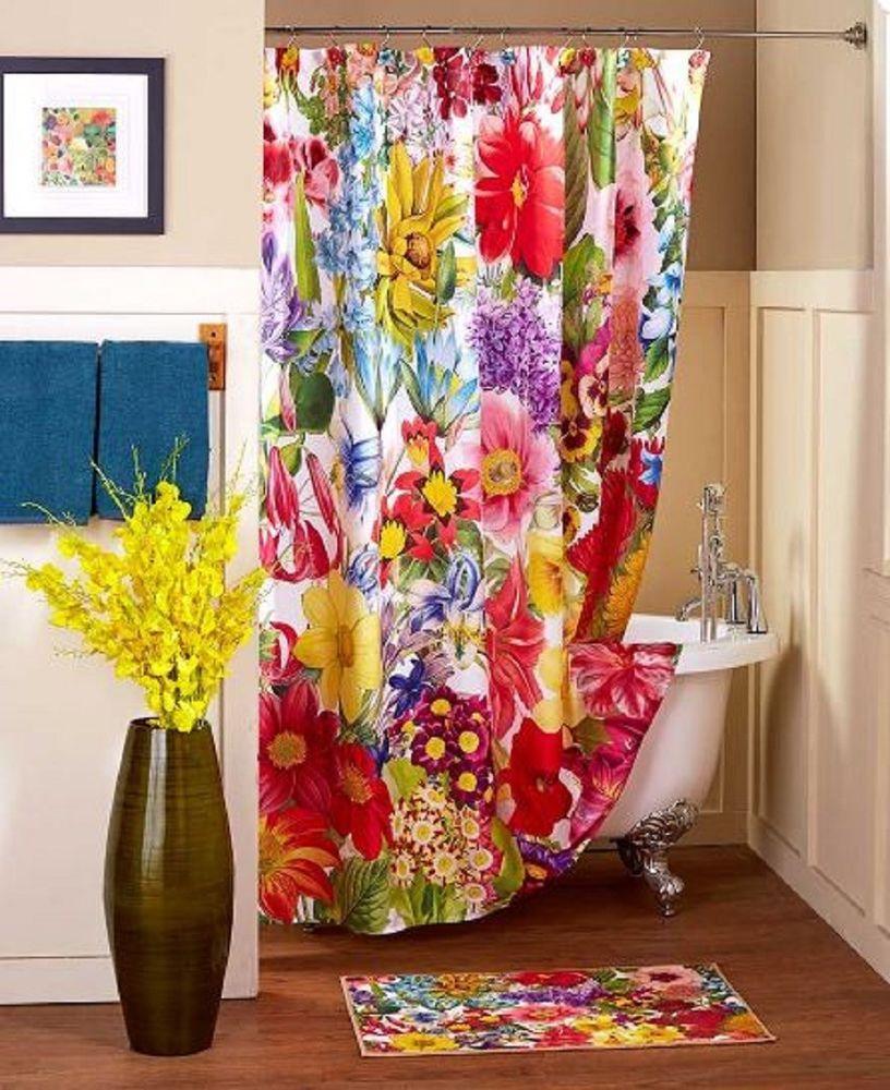 Spring Shower Curtain Set Floral Flower Garden Bathroom Bath