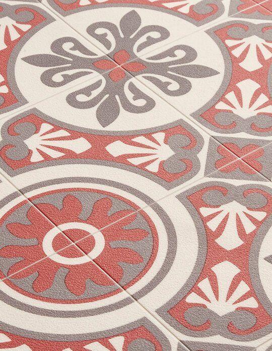 Sol vinyle emotion carreau ciment rouge et gris rouleau 4 m saint maclou