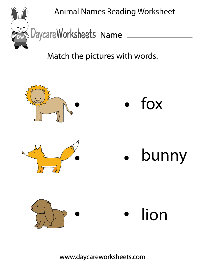 Preschoolers Have To Match Animal Images With Words In This Free