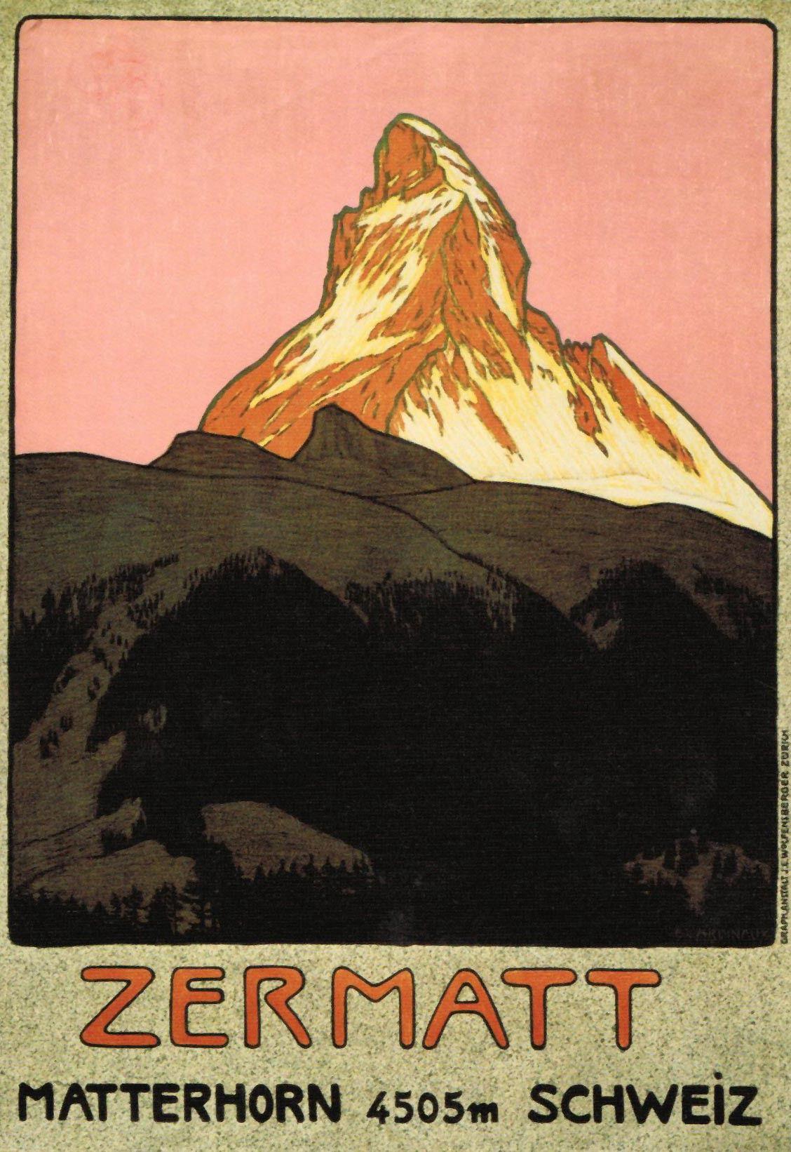 Zermatt Matterhorn By Emil Cardinaux 1908 Ski Posters Vintage Ski Posters Vintage Posters