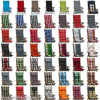 4 Auflagen 56 Farben Kissen Sitzkissen Fur Hochlehner Gartenstuhl Gartenmobel Gartenmobel Kissen Gartenstuhle Sitzkissen