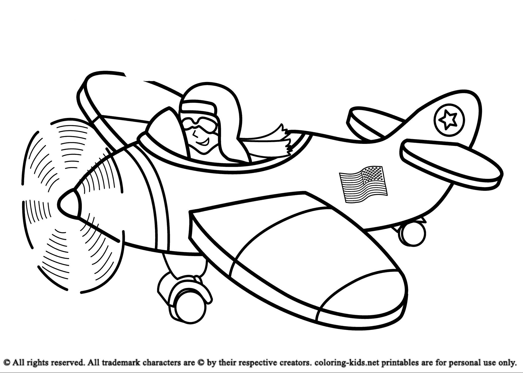 Airplane And Pilot Coloring Pages For Kids Coloring Pages For Kids Airplane Coloring Pages Coloring Pages Coloring For Kids