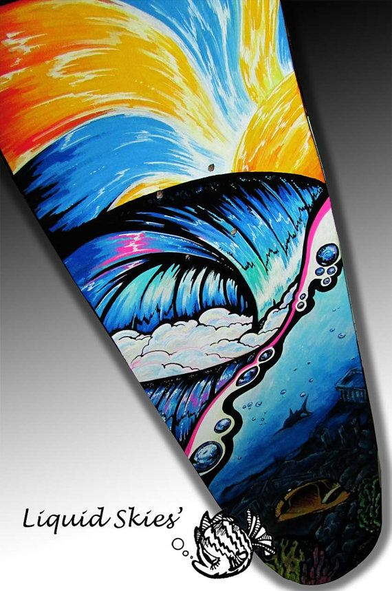 Custom Skateboard Art Wave Sea Life Painting By Saxonlynn