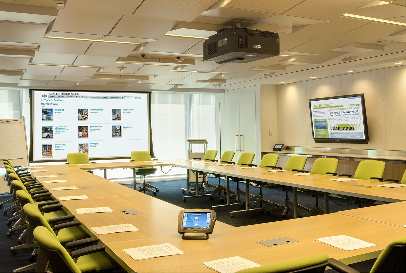 U s green building council conference room table open for Room design builder