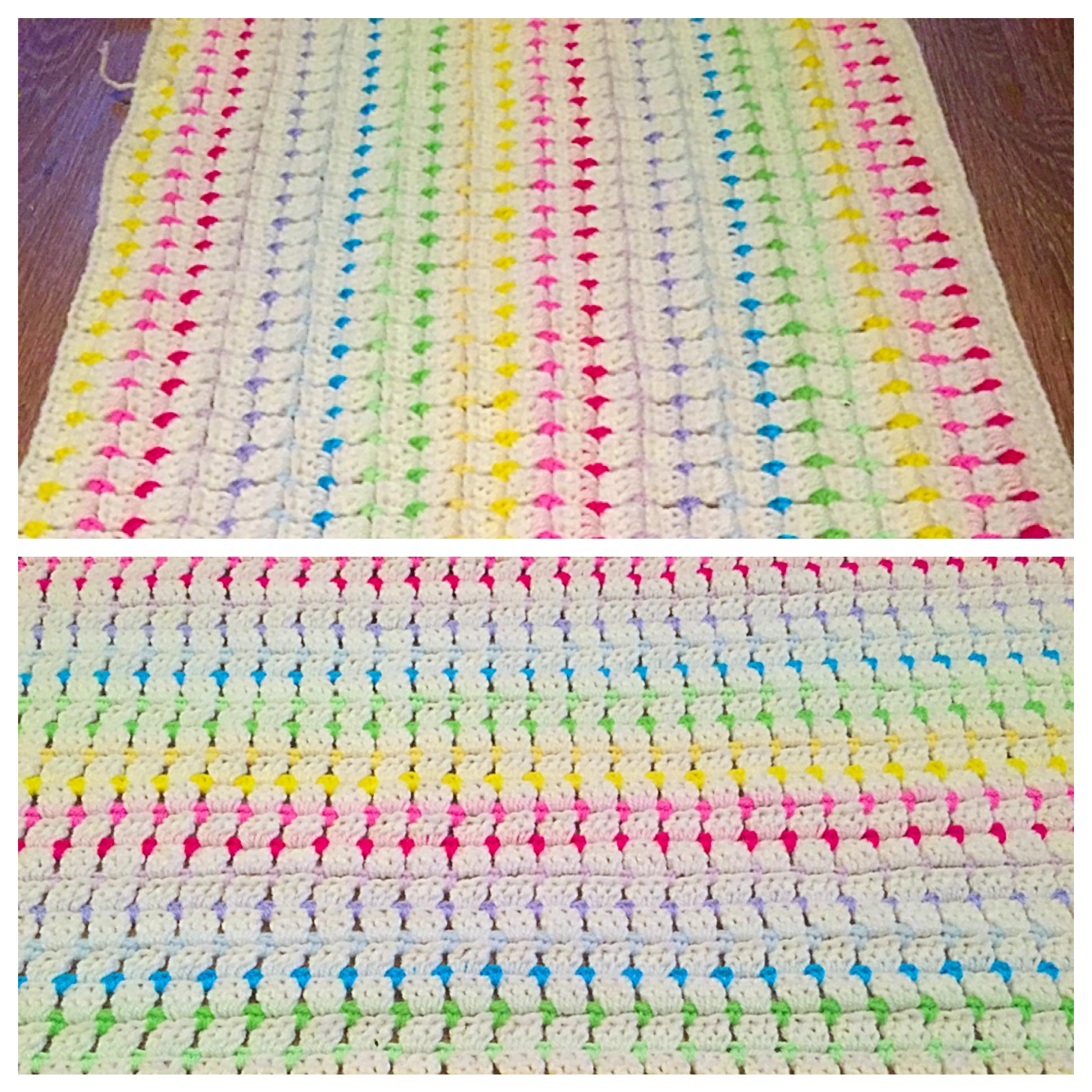 Rainbow stripes crochet blanket
