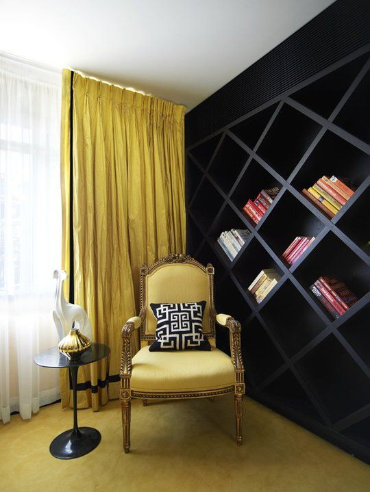 Chair. Bookshelf. Love it. Who needs horizontal anyway? | Homes and ...