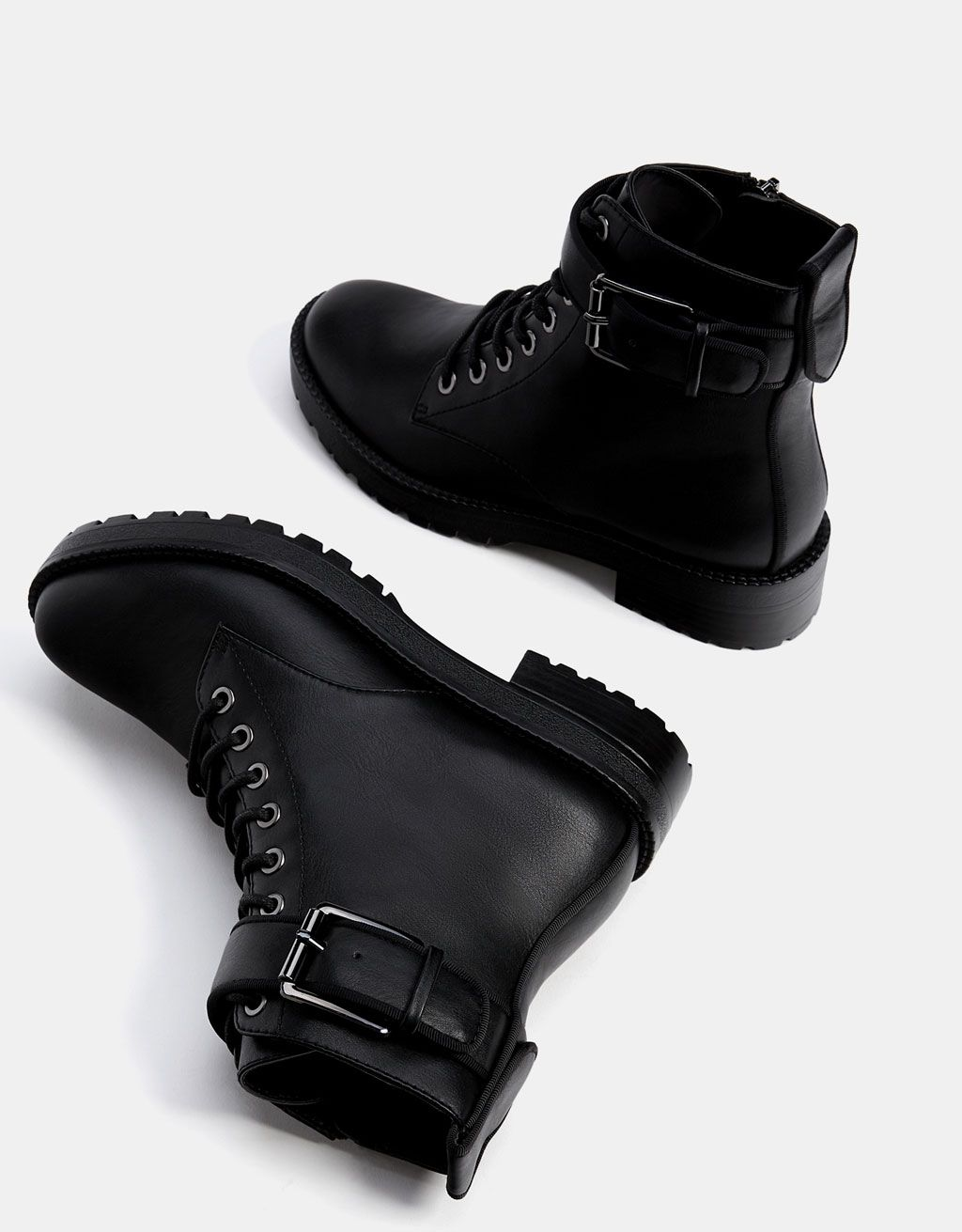 Biker ankle boots with buckles - null - Bershka Ireland