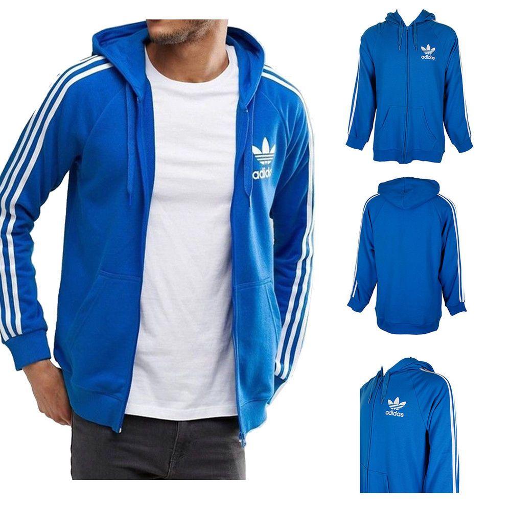 adidas 3 stripes hoodie blue