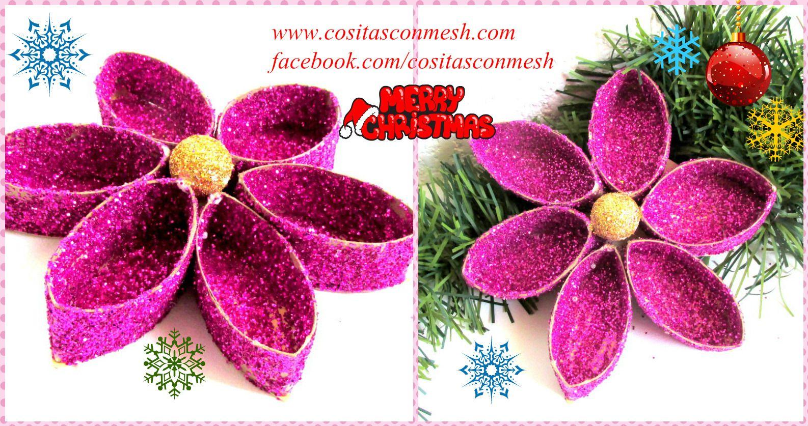 Flores navideñas reciclando tubos de papel higiénico ~ cositasconmesh