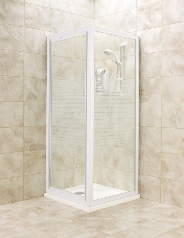 Pivot Door Shower Enclosure White Frame Striped Glass 760mm 0000003745229 Shower Enclosure Square Shower Enclosures Bifold Doors