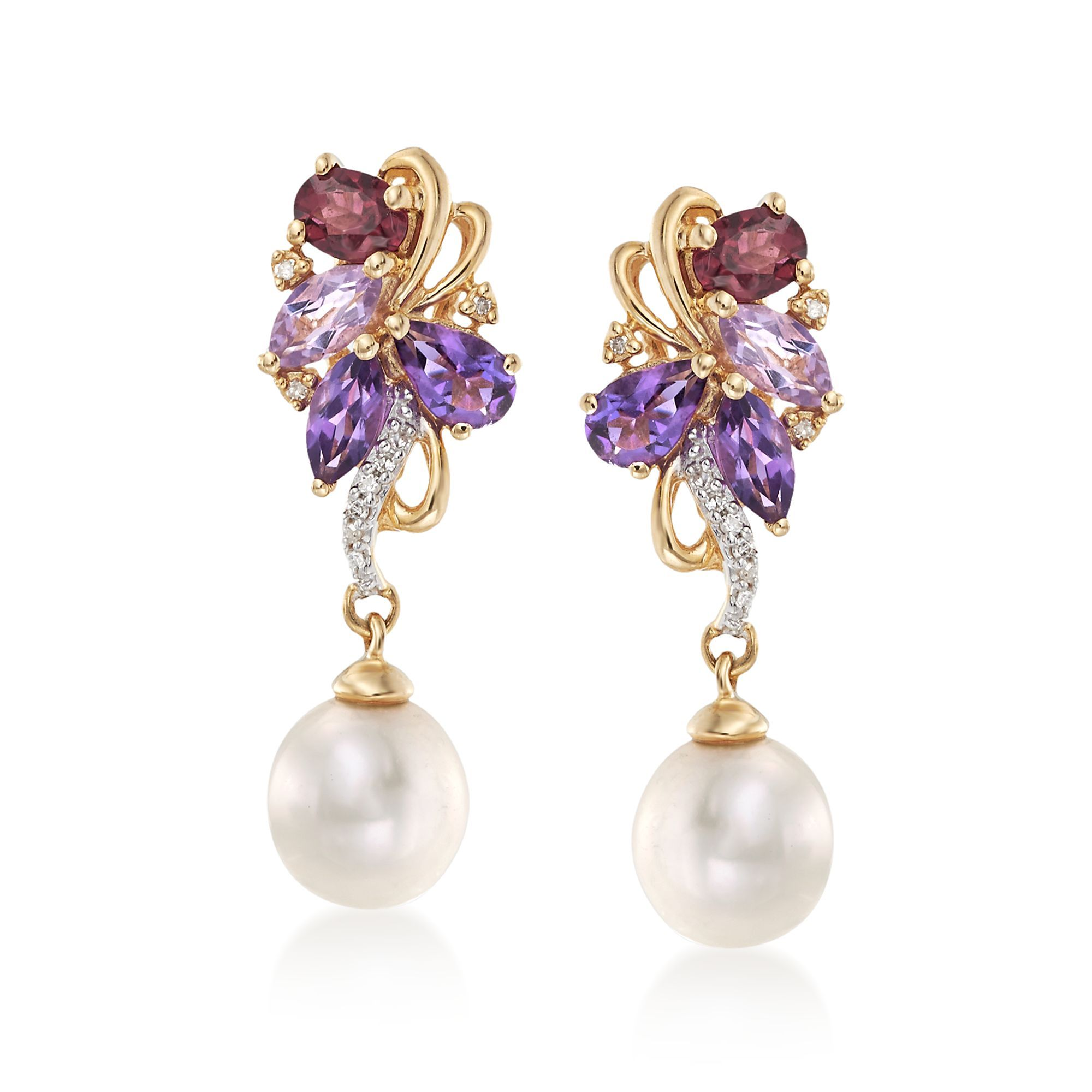 365f4082e771c 7mm Cultured Pearl and 1.20 ct. t.w. Multi-Stone Drop Earrings With ...