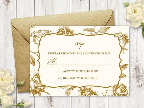Rsvp Card Quot Vintage Roses Quot Gold Printable Wedding Rsvp Card Template Diy Re Rsvp Wedding Cards Wedding Invitations Printable Templates Wedding Rsvp