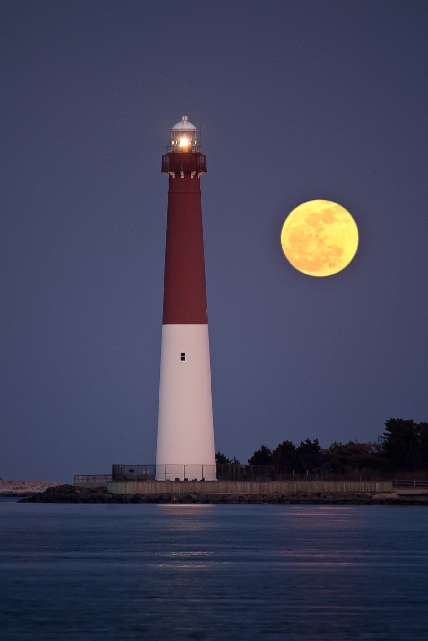 Barnegat Lighthouse at Full Moon Barnegat Light NJ