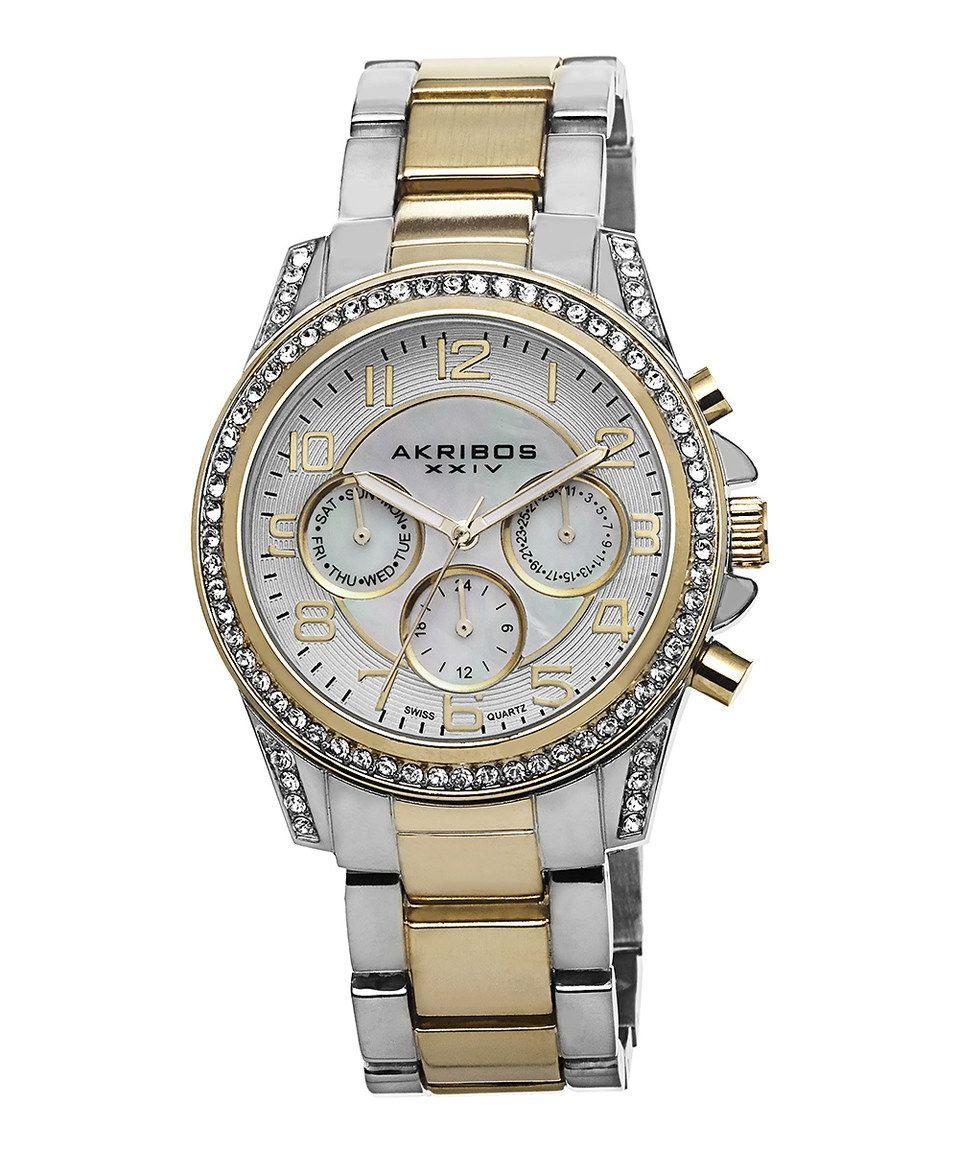 Twotone u swarovski crystal chronograph watch by akribos xxiv