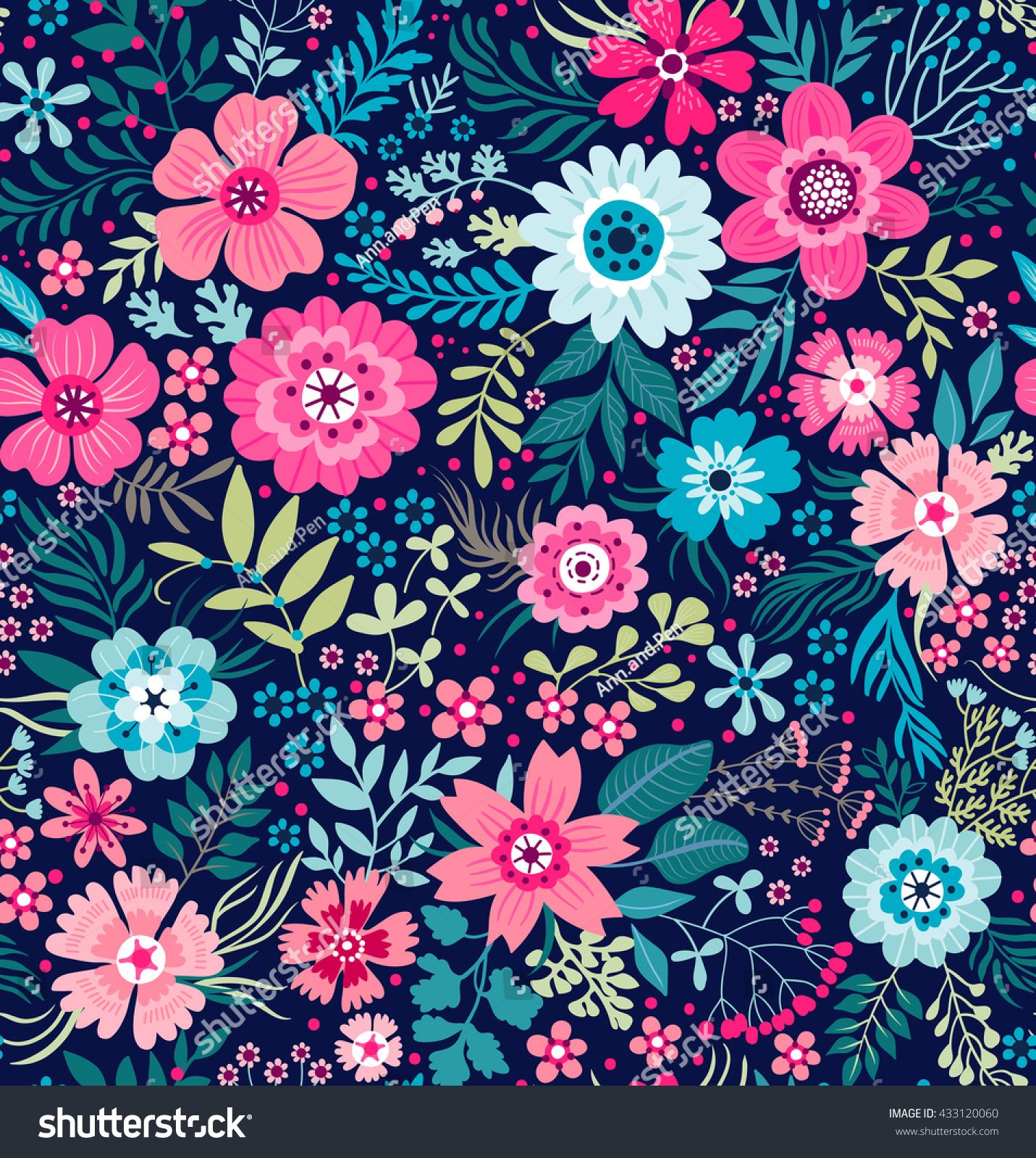 Cute Pattern In Small Flower Small Colorful Flowers White