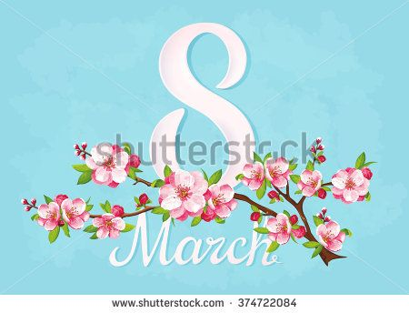 VECTOR eps 10. Big JPEG preview. Japanese flowering on the branch with blue background. For Mother's day with beauty number 8. Woman's day. Japanese flowers, sakura. See more good flowers in my SETS.