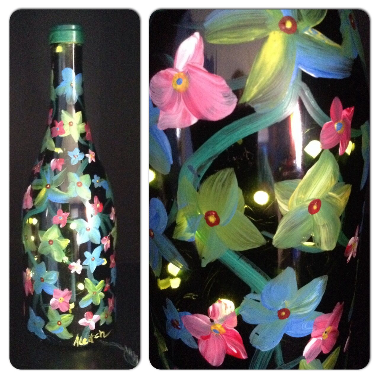 Wine Bottle Night Light. Painted Vine by, Ally Leitch