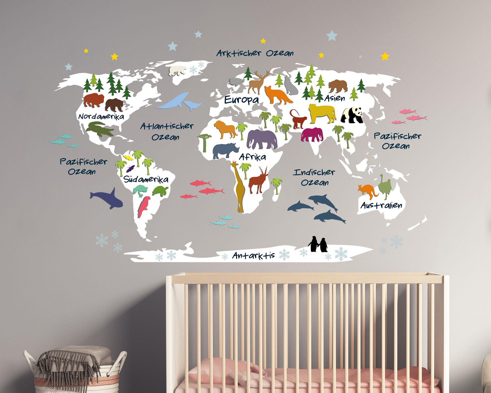 Badezimmer Deko Für Kinder , Wandtattoo Weltkarte Für