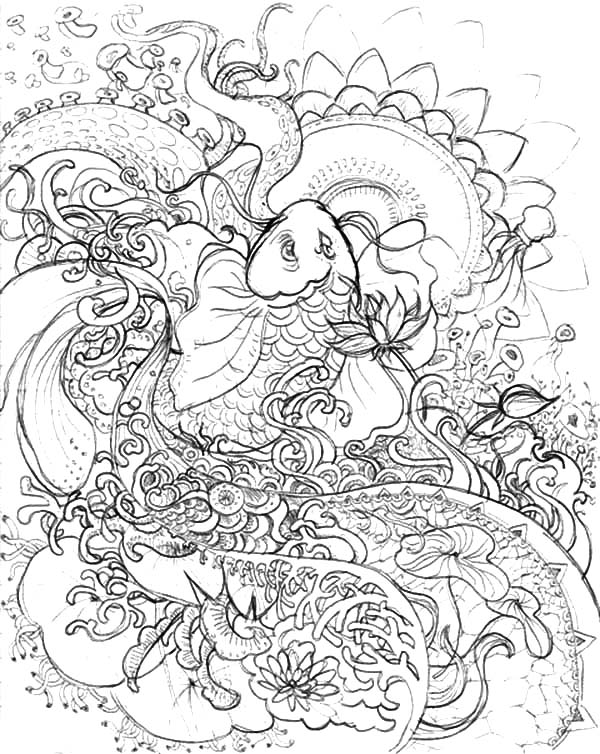 Koi Fish Pencil Sketch Coloring Pages Download Print Online Coloring Pages For Free Color Nimbu Fish Coloring Page Koi Fish Drawing Online Coloring Pages