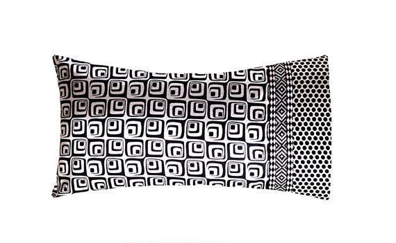 Geometric & Polka Dot Black, White Luxury Satin Pillow Case. Standard Size. Mixed Print.  Luxe Pillowcase. Modern Bedding. Luxury Bedding.
