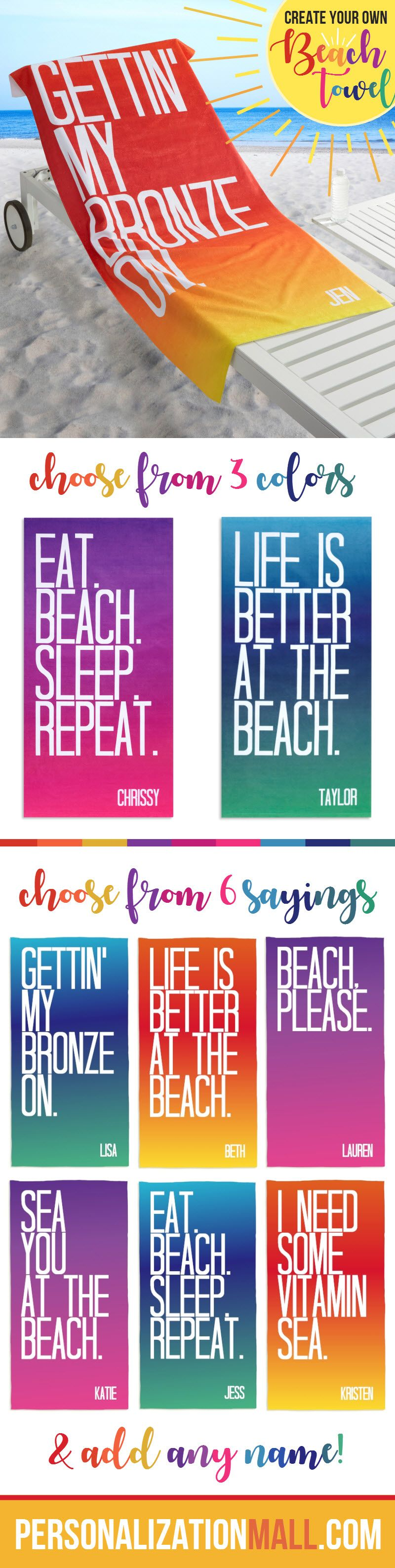 Beach Quotes Personalized 30x60 Beach Towel With Images