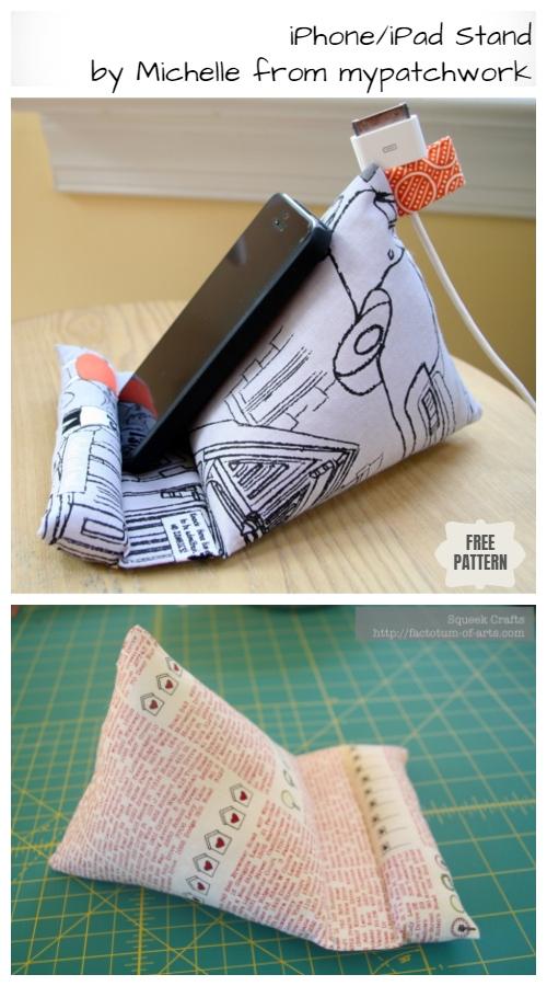DIY iPad Stand Free Sewing Patterns + Video   Fabric Art DIY