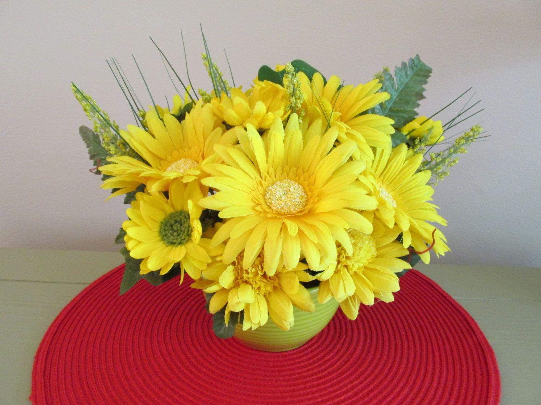 Yellow Flower Arrangement Centerpiece Yellow Gerbers Daisy