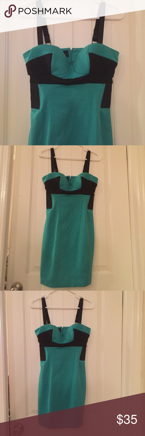 Kardashian dress Black and turquoise body con dress. Great for a girls night out. Very comfortable and you can move. Kardashian Kollection Dresses Mini