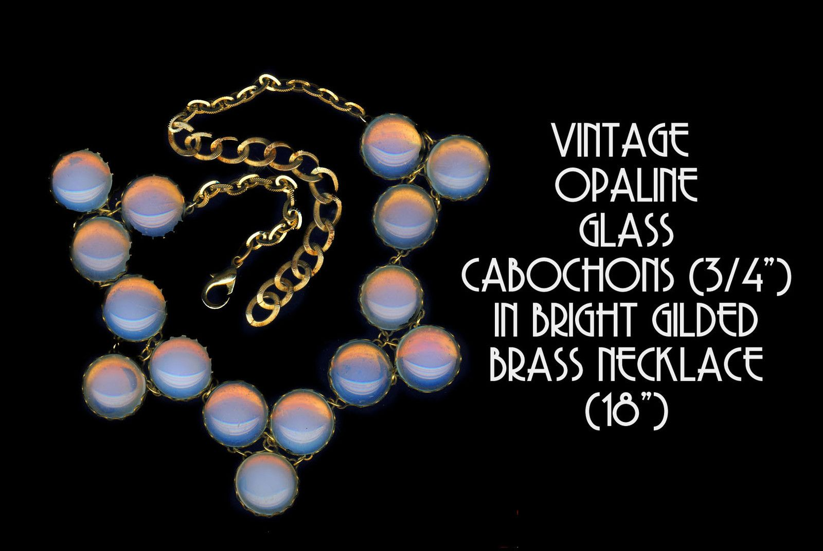 Necklace Modern Large Eye Catching Opalescent Cabochons with Drops in Brass ~ R C Larner Buttons at eBay  http://stores.ebay.com/RC-LARNER-BUTTONS