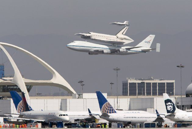 The Space Shuttle Endeavour Does A Flyby Of Los Angeles International Airpor Los Angeles International Airport 94th Aero Squadron Restaurant 94th Aero Squadron