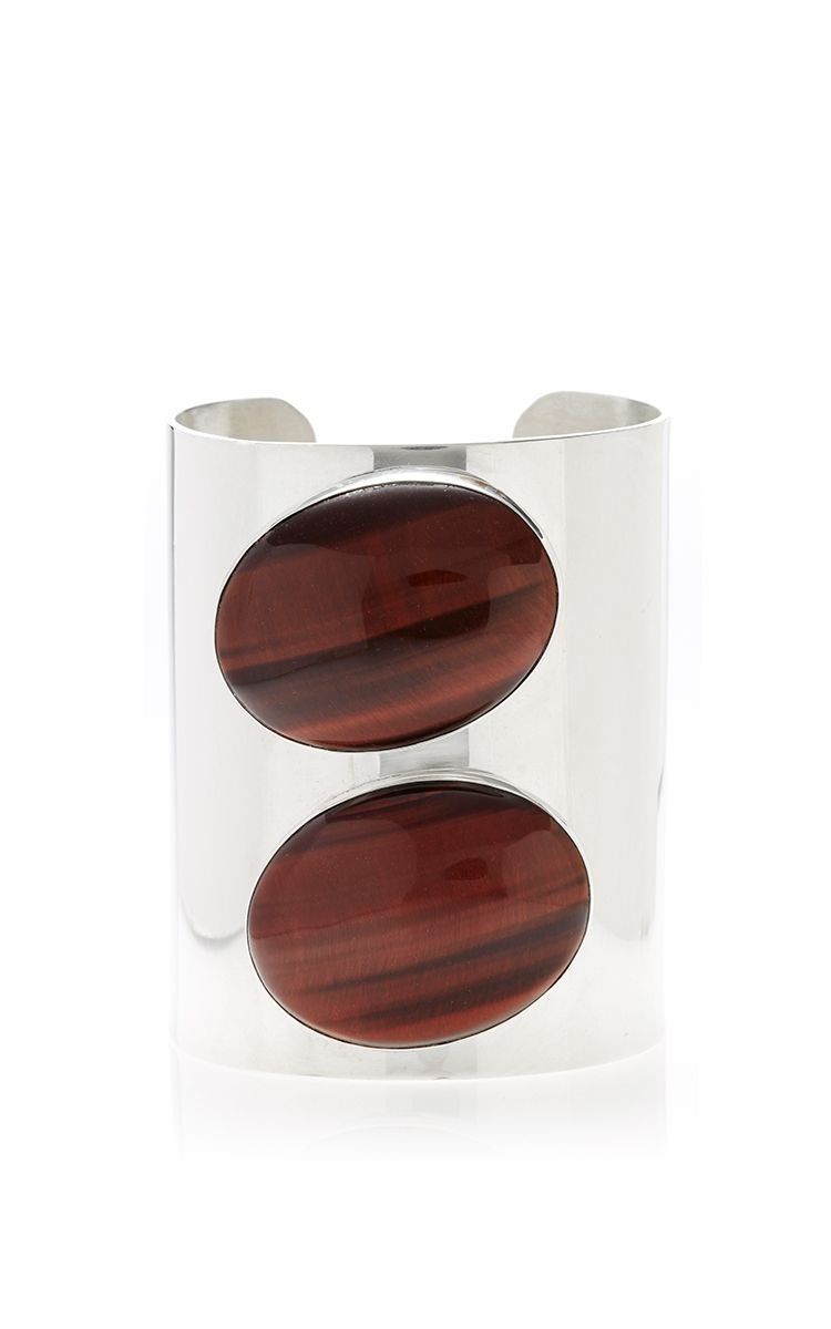 Jody Candrian Sterling Silver Cuff Double Red Tiger's Eye by Jody Candrian for Preorder on Moda Operandi
