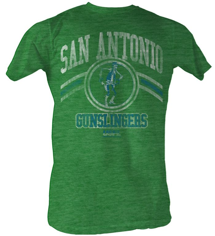 0703c8bfafe4 USFL San Antonio Slingers T-shirt Football League Green Tee Shirt USFL T- shirts This USFL San Antonio Slingers Green T-shirt features a vintage image