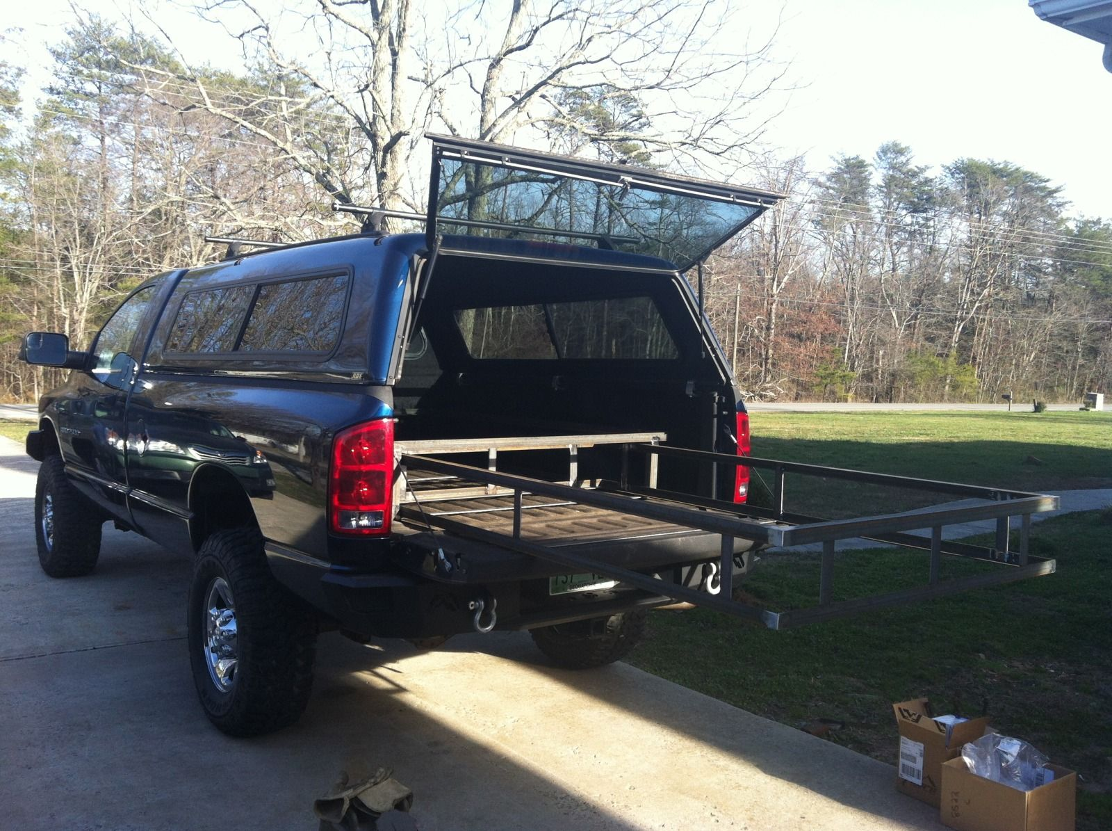 Maybe an extendible rack instead of drawers... Dodge ram