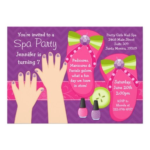 Mani pedi spa birthday party invitation party ideas pinterest mani pedi spa birthday party invitation stopboris