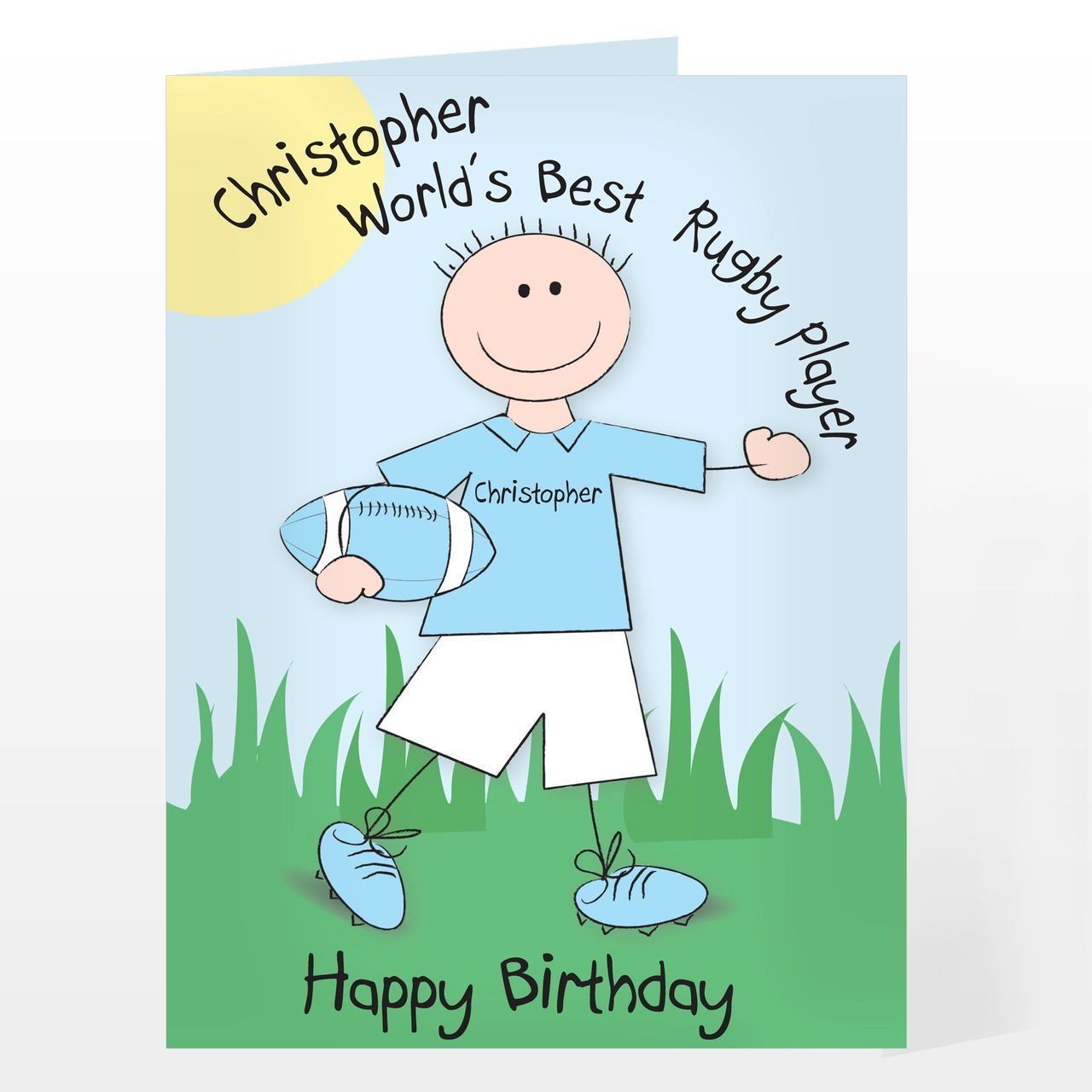 Personalised Bang On The Door Rugby Card