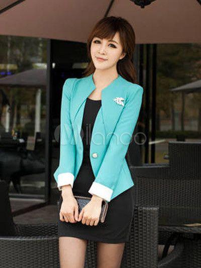9ca2b4001883d Manga larga azul moderno formando Blazer de algodón para mujeres -  Milanoo.com
