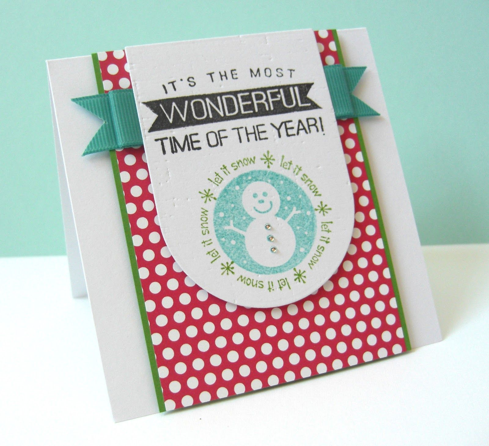 nice layout, great colors for a holiday card, handmade card