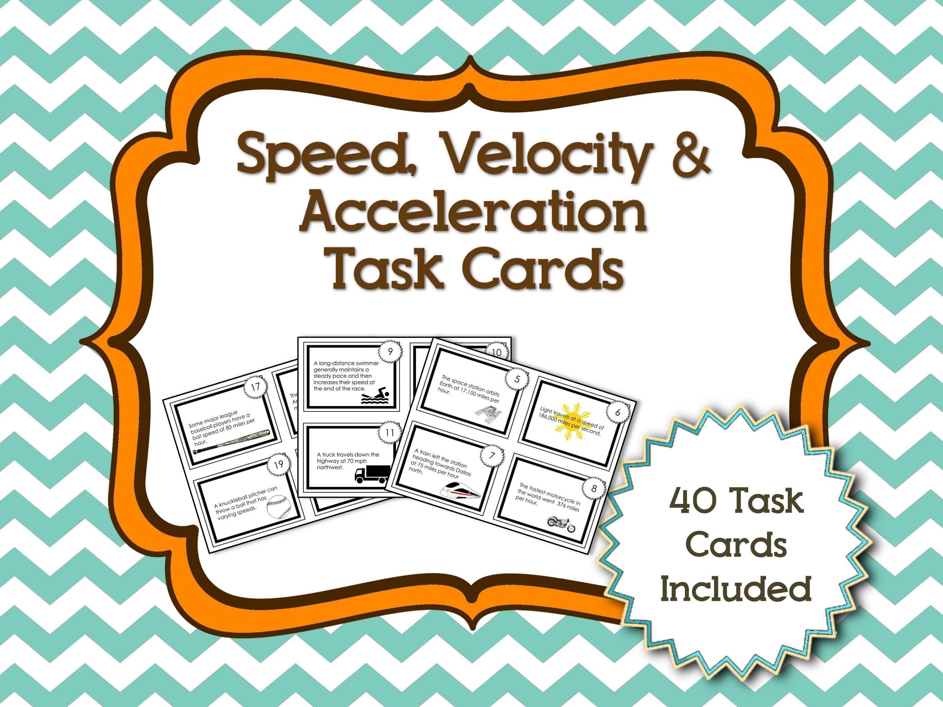 Have Your Students Differentiate Between Speed Velocity And Acceleration Scenarios With This Fun Activity Task Cards Velocity Speed Velocity Acceleration