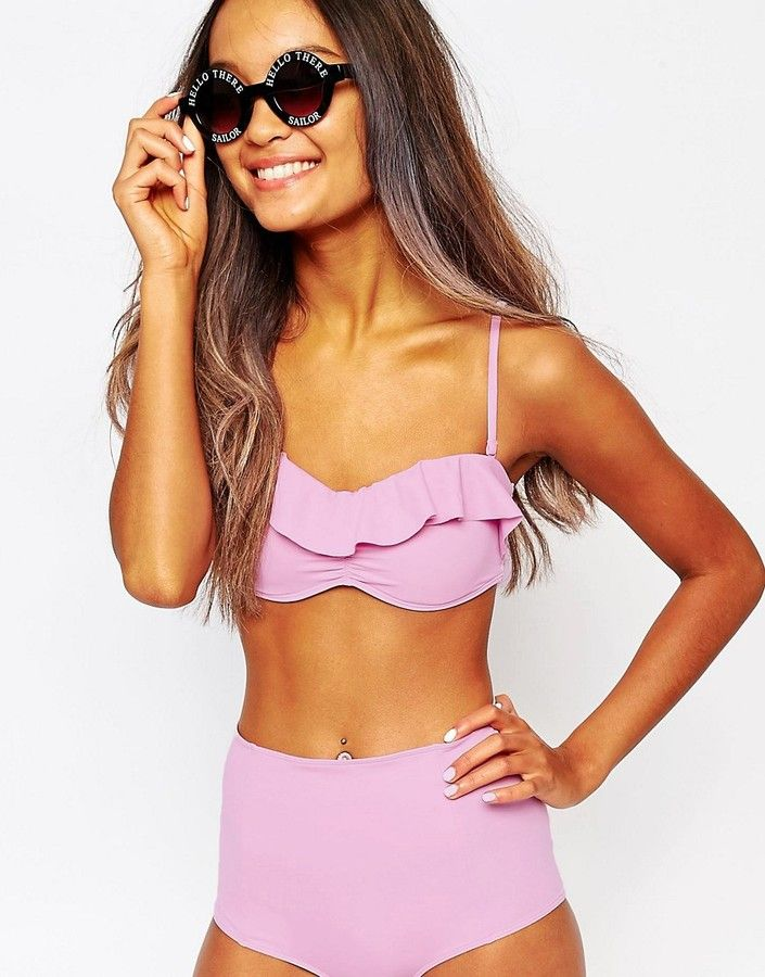 b0a66a0180 Monki Ruffle Bikini Top | Cute Bikins | Bikinis, Ruffled bikini top ...
