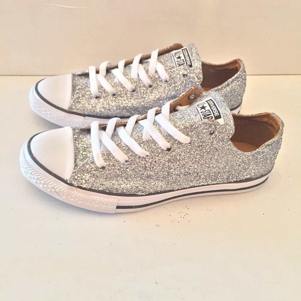 e43b6f42b2478c Womens Sparkly Silver Glitter Converse All Stars Shoes wedding prom bride